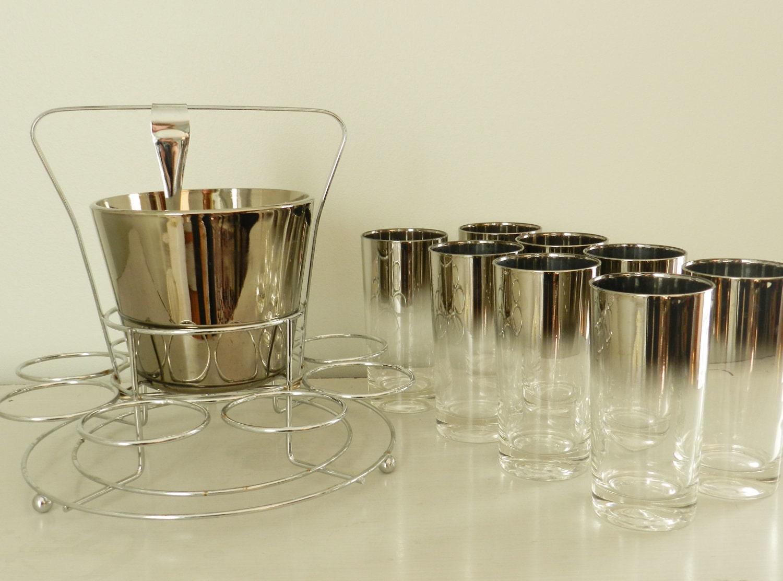 Vintage Barware Set Silver Ombre Tumblers Mercury Glass Ice