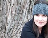 granite gray chunky knit headband / ear warmer