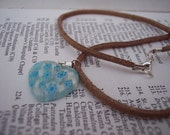glass heart pendant necklace - tan faux leather chord - millie foiri - blue flower milliforie heart pendant necklace