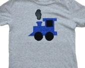 Long Sleeve Blue Train Applique Shirt or Onesie