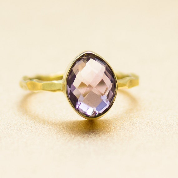 Amethyst and 18k Gold Vermeil Ring - Gemstone Ring - Available in size 5, 5.5 and 6