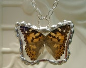 Real Butterfly Soldered Pendant  Real Wings Full Butterfly between glass Painted Lady Nymph Butterfly Hand Soldered Christmas Gift