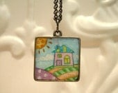 Landscape Art Pendant  painting under resin - Perfect Gift