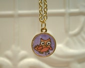Whimsy owl watercolor pendant under resin - Perfect Gift
