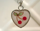 Cherries Art Pendant watercolor painting under resin - Perfect Gift