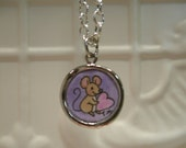 Mouse Art Pendant watercolor painting under resin - Perfect Gift