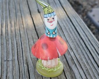 Garden Gnome on Amanita mushroom Sculpture Great Christmas birthday Gift Amanita Mushroom Miniature Gnome Orange aqua blue terrarium decor