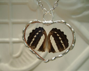 Real Butterfly Wing Heart Shaped Pendant - Hand Soldered - Great Springtime Gift