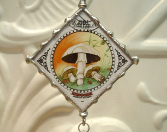 Clearance sale- Mushroom Stamp Pendant - Two- sided - Christmas Gift