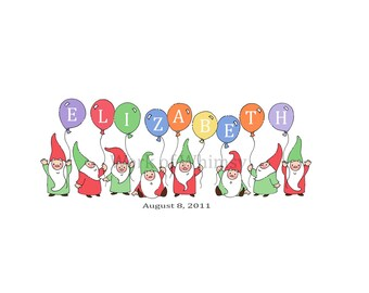 Garden Gnomes with 9 Balloons Personalized Name Print childs room decor babys room decor Christmas Birthday Gift home decor seasonal decor