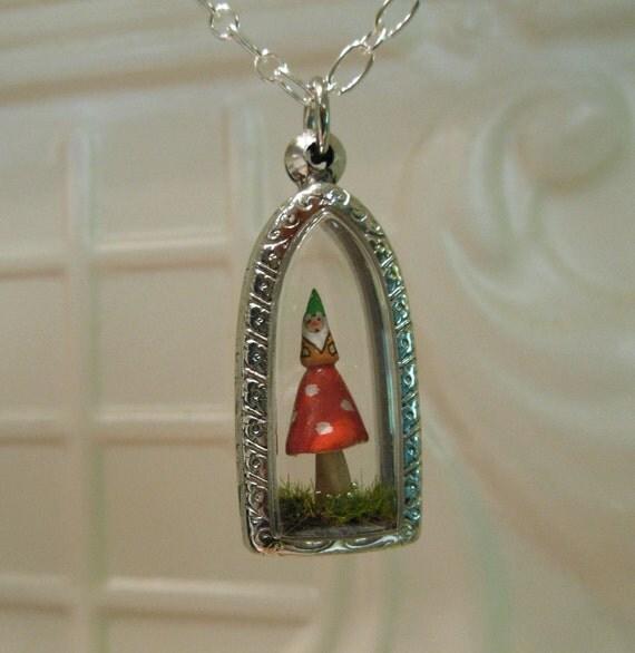 Miniature Terrarium Garden Gnome Red Amanita Mushroom Pendant Necklace Engraved Stainless Steel