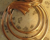 Vintage Renoir Copper Brooch three circles & some lovely leaves 1950's