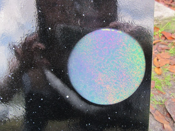 Unique Planets, Space Spray Painting on small posterboard