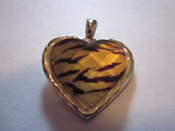 Tiger Striped Heart Pendant