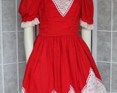 SALE 50s Square Dance Rockabilly Dress Homemade Red With White Ruffles WOW