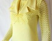RESERVED VICTORIA 70s Lemon Yellow Dress / Popcorn Stitch Sleeves / Mod Vintage