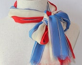 Vera Silk Scarf / Patriotic / Red White Blue / Fringed Scarf / Vintage Made in Japan