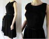 50s Bombshell Dress / Mad Men / Black Chiffon / Cocktail Party FUN