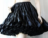 Rockabilly Petticoat / Black Bombshell / Steampunk / Swing Dance / Circle Skirt / by Square Up