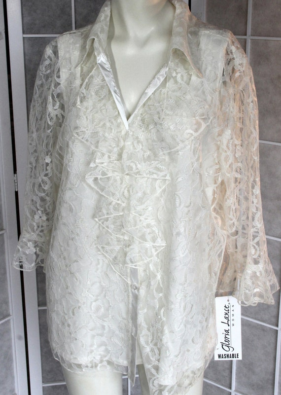 Romantic Lace Ruffled 2pc Blouse / DEADSTOCK /  by Gloria Lance / Plus Size