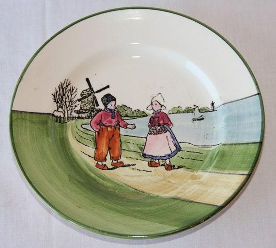 Antique Dutch Plate / Dutch Boy Dutch Girl / Zell / Circ 1910's