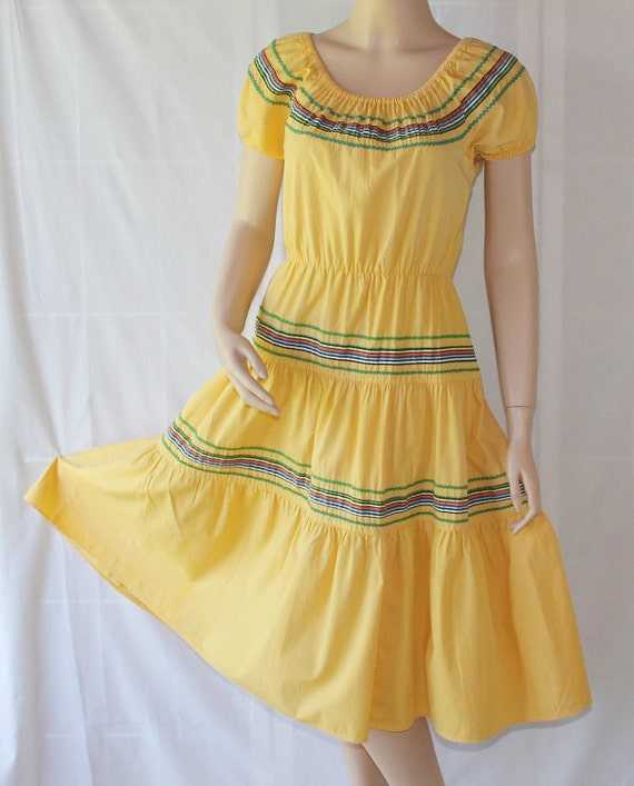 50s Rockabilly Dress / Patio Dress / Squaw Dress / Pinup / Square Dance / Yellow / by Kenrose