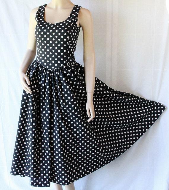 Rockabilly Dress / Circle Skirt Sundress / Polka Dots / Laura Ashley / Circa 80s