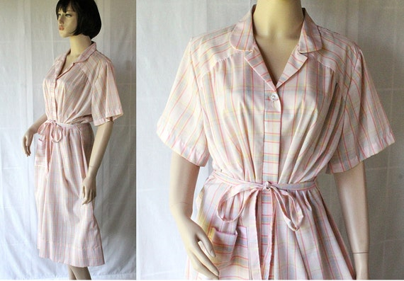 60s 70s Day Dress / Plus Size / Pastel Plaid / Nancy Frock for Dan River