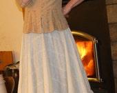 Prairie skirt / petticoat / overskirt beige eyelet
