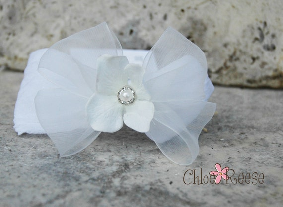 White Flower Super Soft Baby Headband White Baby Bow Blessing or Christening Bow by Chloe Reese