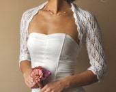 BRIDAL SHRUG, sleeves 3/4, leaf pattern, lace, light cream, size S