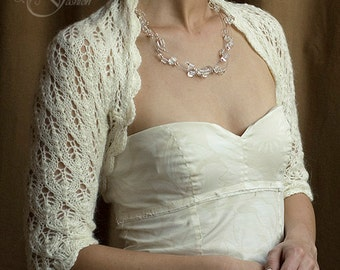 BRIDAL BOLERO wedding shrug sleeves 3/4 leaf pattern lace knitted mohair size M natural white color