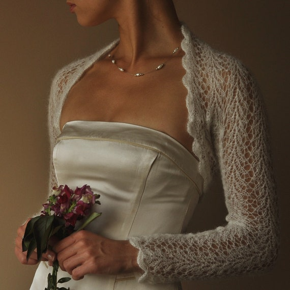 BRIDAL SHRUG wedding bolero light as a cloud long sleeves color - light cream mohair size S