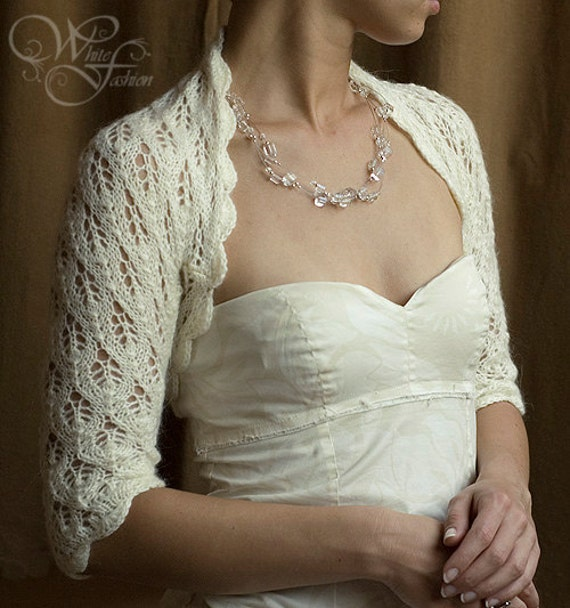 Items similar to BRIDAL BOLERO wedding shrug sleeves 3/4 leaf pattern lace kn...