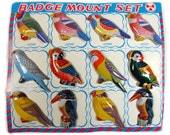 Vintage Display Card With 12 Bird Badges By KTS Of Japan, Mint On Card