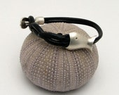 FREE SHIPPING .. Handmade black leather, nautical bangle bracelet with silver plated clasp.