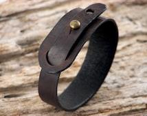 FREE SHIPPING. Men's leather bracelet.men bracelet. Hand made dark brown leather bracelet