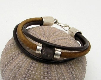 EXPRESS SHIPPING Unisex leather bracelet . Natural  and brown  leather nautical bracelet with beach stone, silver plated spacer and clasp.
