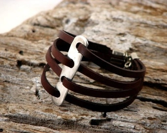 EXPRESS SHIPPING Custom Women's leather bracelet. Handmade, unique,  multi strap brown leather bracelet , artisan hammered metal work