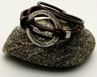 EXPRESS SHIPPING Women's leather bracelet Brown leather wrap women's bracelet with silver plated spacers, ring and clasp