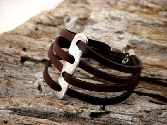 FREE SHIPPING .Women's leather bracelet. Handmade, unique,  multi strap brown leather bracelet , artisan hammered metal work