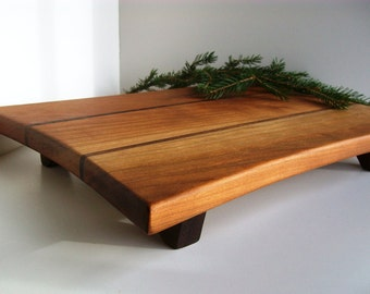 Cutting Board, Sushi Board, Cheese Tray in Vermont Cherry and Black Walnut- Large