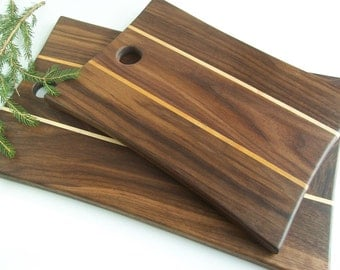 Cutting Board in Vermont Made Black Walnut and Maple Wood