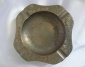 Vintage ashtray, etched metal, very beautiful with flowers and leaf design, Made in India, RARE and Unique