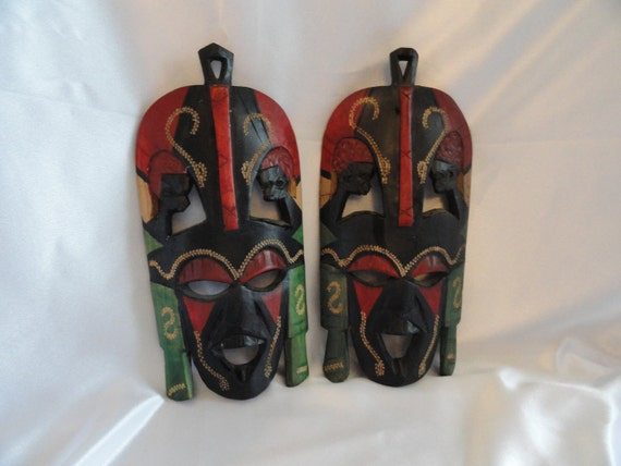 Pair of Maasai Tribe, Kenya Africa Wedding friendship Mask, handcarved, could be hung on wall,great decor in home or office