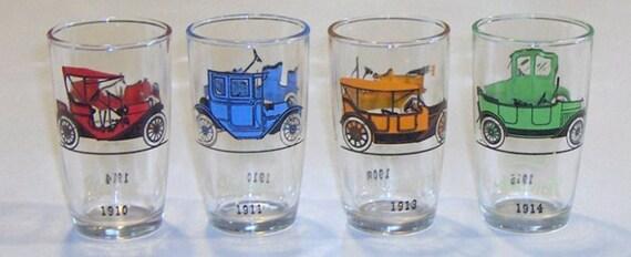 Vintage Antique Car Glasses with Original Box 1960s