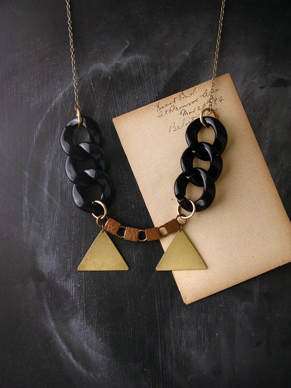 geometric necklace double triangles  - the no. 009 -