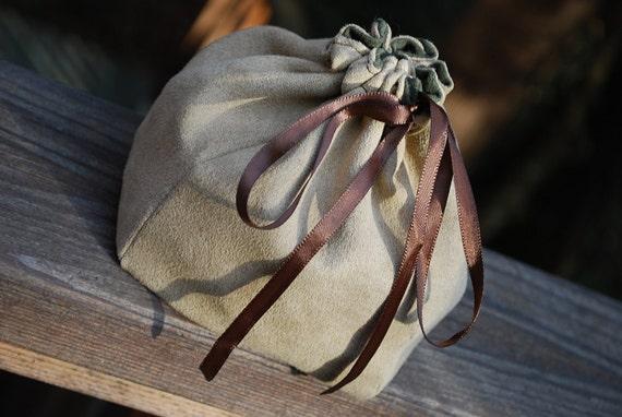 Dice Bag - Tan Suede - Reversible to Green Suede