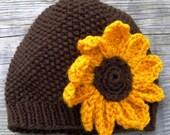 Cozy Sunflower Knit Hat