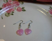 Dainty Pink Glass Heart Earrings for Valentines Day